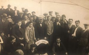 Nicola Lucarino, my grandfather, second from the right, like so many southern Italian peasants at that time, made the voyage to America to make money to send to his family in Civitanova del Sannio, Molise, Italy. Nicola came to America several times, the final in 1931 on the SS Conte Grande at the age of 35 to become a permanent citizen and therefore help to bring the rest of his family to the U.S. His look of confidence was prescient as our Lucarino family continues to thrive in the U.S.