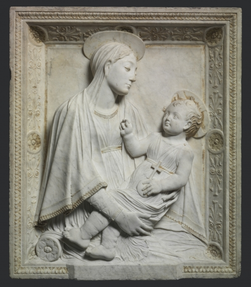 Madonna and Child, carved in Rome in 1461| Marble relief with traces of gilding, 36-7/8 x 31-7/16 | Mino da Fiesole | Italian, Florence, 1430-84 | The Cleveland Museum of Art Gift of Mrs. Leonard C. Hanna  1928.747