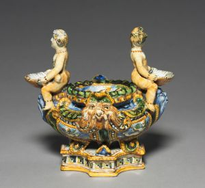 Maiolica Saltcellar (one of a pair) Tin-glazed earthenware, H. 8 inches. Italy, Urbino, about 1550-1600. The Cleveland Museum of Art Gift of Mr. and Mrs. Philip R. Mather 1945.126.1