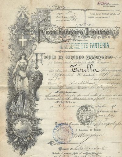An example of the Foglio di Concedo Illimitato, an Italian military discharge certificate. This record shows that Domenicantonio Torella served in the Italian army from September 8, 1888 until July 21, 1891. Records like these contain a good deal of genealogical information and are an excellent alternative when vital records cannot be located.