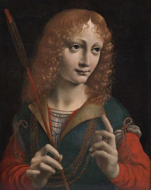 Portrait of a Youth as Saint Sebastian, about 1483 Oil on wood panel, 18-11/16 x 16-1/8 inches Giovanni Ambrogio de Predis, Italian, Milan, 1455-1508 The Cleveland Museum of Art, John L. Severance Fund  1986.9