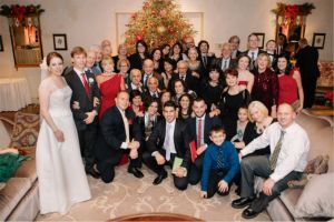 Patrick and Bianca at their wedding reception, along with the mostly reunited Tunno family.