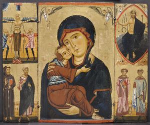 Madonna and Child with Saints, 1230s Tempera and gold on wood panel (poplar) Berlinghiero Berlinghieri, Italian, Lucca, active ca. 1228-1238 Gift of the John Huntington Art and Polytechnic Trust  1966.237
