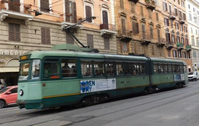 Tram outside Termini station in Rome
