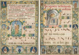 Two Leaves from a Set of Choir Books Commissioned by Bishop Bartolommeo delle Rovere: Feast of Saint Andrew and Mass of the Dead, 1480s Tempera and gold on parchment, 30-1/2 x 20-1/2 inches  Jacopo Filippo Argenta, Italian, Ferrara, active about 1478-1501 Purchase from the J. H. Wade Fund 1927.425.1-2