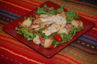 Chicken Salad with Smoked Pancetta, Tomatoes & Arugula