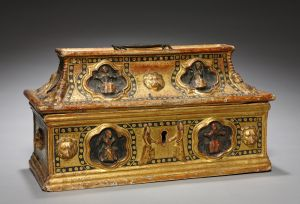 Casket (Coffanetto) | Painted and gilded gesso on wood (16-1/4 x 9-1/8 inches) | Italy, Siena, late 1300s | The Cleveland Museum of Art, | John L. Severance Fund  1954.600