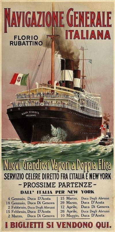 An example of a ticket broker's poster for steamship passage from Italy to New York.