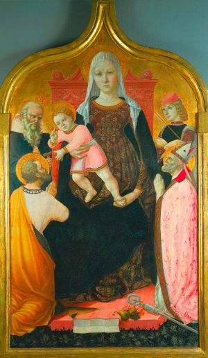 Madonna and Child with Saints Tempera and gold on wood panel (56-11/16 x 33-1/4 inches) Lorenzo da Sanseverino Italian, Marche, ca. 1468-1500 The Cleveland Museum of Art, Holden Collection  1916.800