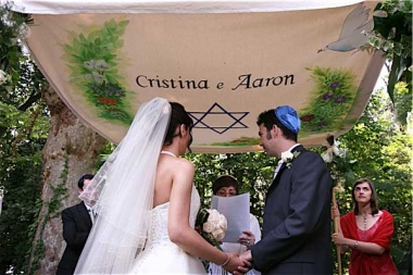 Cristina and Aaron's chuppah marks the creation of a new family heirloom