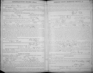 A 1904 Petition for Naturalization for Stefano Miceli of the Youngstown, Ohio area shows that he arrived in the US  on September 5, 1896, filed a declaration to become a citizen on October 2, 1902 and was granted citizenship  on October 24, 1904 in Mahoning County's Probate Court.