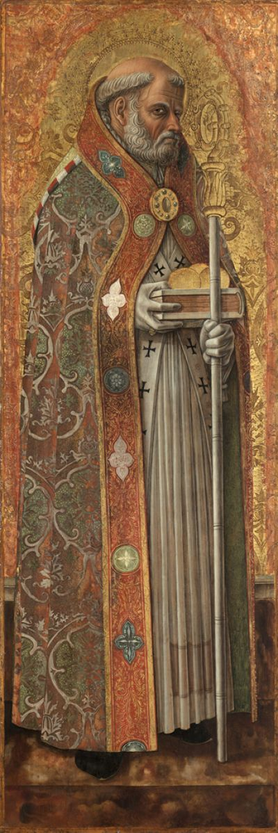 Saint Nicholas of Bari | Tempera on wood panel (h. 42-7/8 inches), 1472 Carlo Crivelli | Italian, born Venice, 1435-1495 | The Cleveland Museum of Art, Gift of the Hanna Fund 1952.111