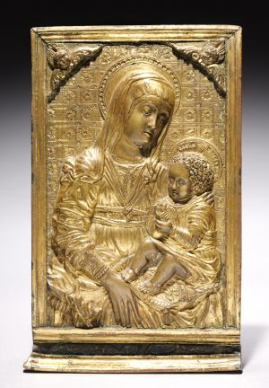 Pax with the Madonna and Child | Gilt-bronze, silver, blue enamel (6-1/4 x 4-1/8 inches), late 1400s Follower of Antonio Rossellino | Italian, Florence, 1427-1479 | The Cleveland Museum of Art, Norman O. Stone and Ella A. Stone Memorial Fund  1968.24