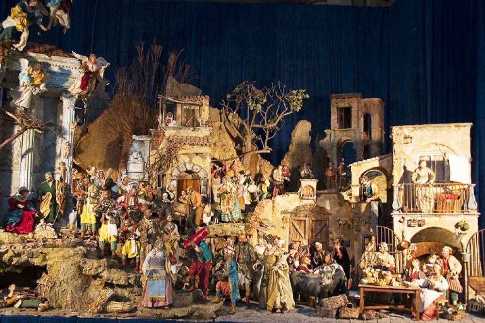 A Typical Nativity Scene In Italy